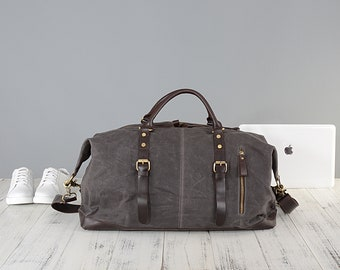 Personalised waxed canvas and leather holdall bag in grey