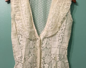Lori Top- white lace and beaded vest