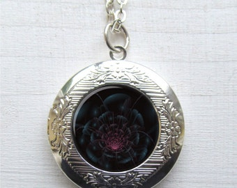 Night Flower Locket, Flower Necklace, Flower Art Jewelry
