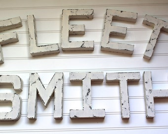 Rustic Wedding Decor - White Wooden Letters - Wedding Table Decor - White Wall Decor - Wooden Letters for Wedding - Rustic Bridal Shower