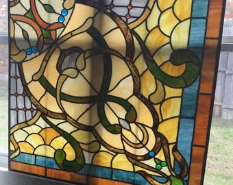 """local pickup - Fabulous Huge Vintage Leaded Glass Panel from Building in Dallas  - late 1800's 40""""x40"""""""