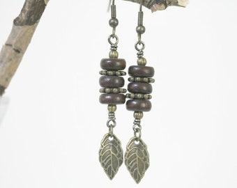 Chocolate Brown and Antiqued Brass Dangling Leaf Earrings