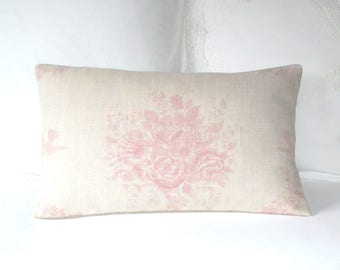 Kate Forman Pink Sophia Cushion / Lumbar Throw Pillow Cover - UK Designer Linen Soft, Romantic, Faded Cabbage Roses - Floral Pillow