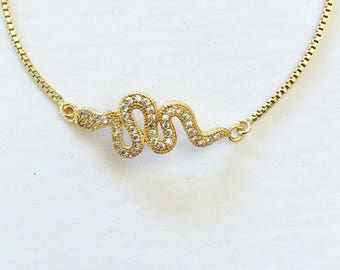 Snake Charmer Adjustable Box Chain Bracelet Silver or Gold