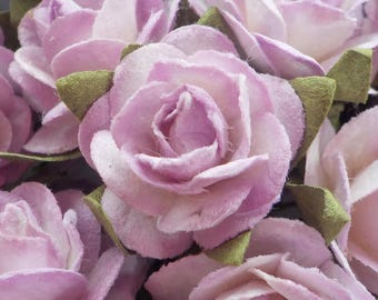 """100 Handmade Mulberry Paper Roses, Lilac & White Blush Rose, Card Making, Lilac Paper Rose, Rose Embellishments, Paper Flowers, 15mm/0.6"""""""