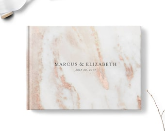Custom wedding guestbook, Personalized guest book, Landscape with optional gold foil, Blush Pink Marble, Blank or lined pages gb0113