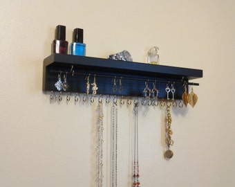 30 DIFFERENT COLOR/FINISHES - Jewelry Organizer - Earring Holder - Necklace Organizer - 20 Display Hooks - Removable Rod -  A Top Shelf