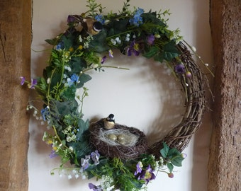 Spring wreath - Easter wreath - Country wreath - Natural wreath - birds - nests -spring flowers - large wreath