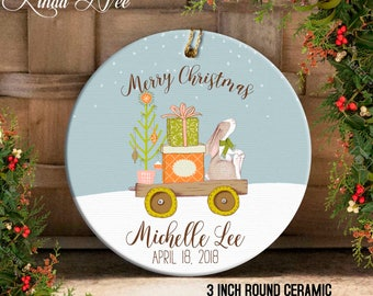 Baby's 1st Ornament, Personalized Baby's First Christmas Ornament, Gift for Baby Boy, Gift for Baby Girl, Baby Bunny Keepsake Ornament OCH91