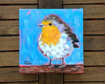 "Original Bird Painting, Robin Art, Bird Art, Small Acrylic painting, Original Canvas, Fine art, Animal Painting, 6x6"" Canvas"