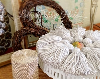 Gray Yarn Tassels, Tassel Garland, Yarn Tassels, Light Gray Garland, Tassel Wall Hanging, Nursery, Baby Shower Decor, Wedding, Engagement