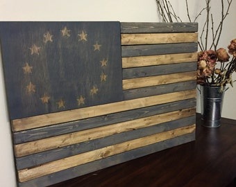 American Flag, Rustic Stained