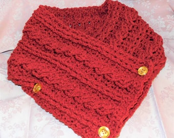 Crocheted Cable Knit Scarf with (3) golden 1 3/4' buttons