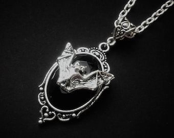 Silver Bat Cameo Necklace
