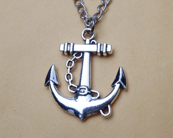 Silver anchor necklace charm necklace gift