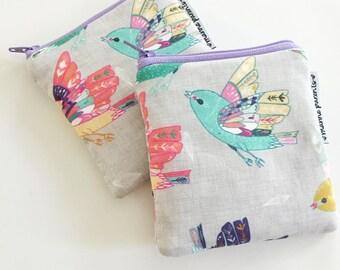 linen sparrows mini pouch