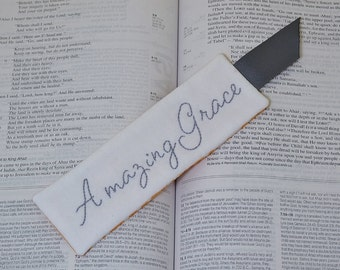 Amazing Grace Bookmark - Christian Book Lover Gift - Religious Book Accessory - Hand Embroidered - Grey White Orange Medallion - Thank You
