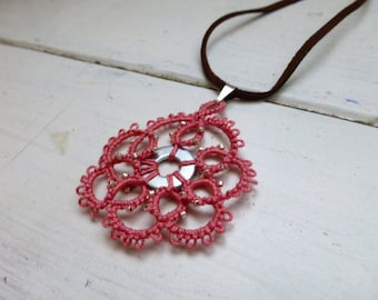 Tatted necklace, tatted lace, tatted pendant necklace, velvet cord, pink necklace, tatted jewelry, lace jewelry, gift idea, ready to ship
