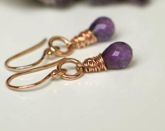 Rose Gold Amethyst Earrings   Purple Amethyst Teardrop   14k Rose Gold Filled Wire Wrapped Dangles   February Birthstone   Ready to Ship