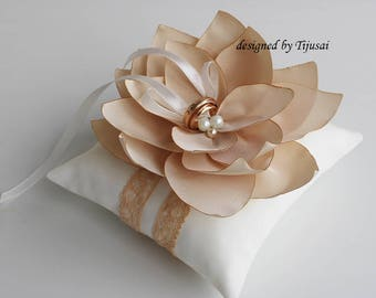 Wedding ring pillow with beige Lily flower-ring holder, ring pillow-ready to ship