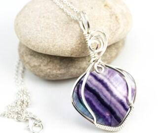 Rainbow Fluorite Pendant - Wire Wrap Fluorite - Purple Stone Pendant - Purple Fluorite Necklace - Wire Wrapped Pendant