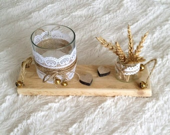 Wood backed Bell candle holder