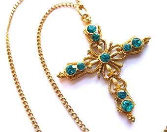 AQUA RHINESTONES Openwork Goldtone Cross, Vintage Goldplated Fleur di Lis Cross, Turquoise Rhinestone Cross, Faux Gemstone Cross Necklace