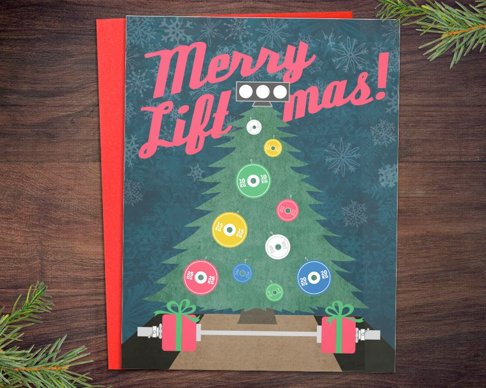 Weightlifting Christmas Cards 5 Or 10 Pack Merry Liftmas