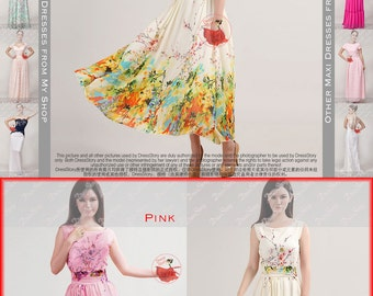 Sale! Floral Maxi Dress - Floral Prom Dress-Yellow Floral Maxi Dress - Blue Floral Maxi Dress - Pink Floral Maxi Dress Prom Dress - 292 zzz