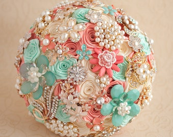 Crystal Brooch bouquet. Coral, Mint and Gold wedding brooch bouquet, Jeweled Bouquet. Quinceanera keepsake bouquet