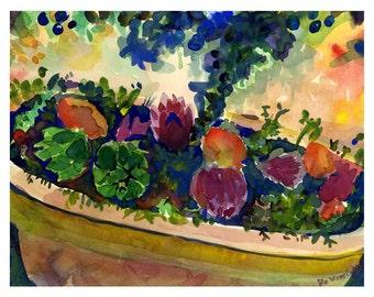 Watercolor Still Life, Abstract Still Life watercolor Print, Fruit Basket Watercolor, Artichokes watercolor print