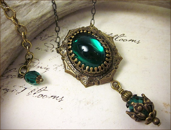 listing jewel il renaissance necklace pendant green emerald tudor