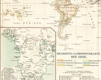 Christian missions map print African missions World religions map 19th century map religious map print : 1890s lithograph old book plate