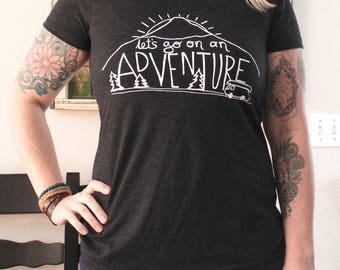 Adventure T-Shirt - Women's FITTED Tri Blend - S, M, L, XL, 2X- Mountain, Road Trip, Camper Van, Camping, Summer, Outdoors
