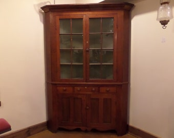 Antique Cherry Corner Cupboard W/ Paneled Glass Doors Folk Art Victorian  Country China Vintage Cut