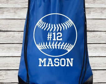 Personalized Baseball Drawstring Tote, Baseball Drawstring Bag Personalized with Name and Number
