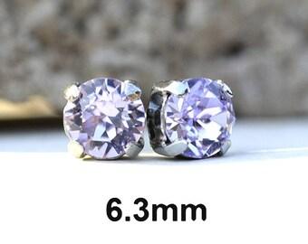 Violet Studs, 6.3mm Earrings, Studs in Settings, Purple Crystal Earrings, Rhinestone Studs, Crystal Earrings