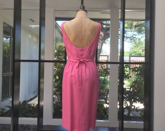 Lanz Original Dress from 1962 Bubble Gum Pink Day Dress or Semi Formal Jacky 0 Late 50s Early 60s Dream Dress. (Those Buttons!!!)