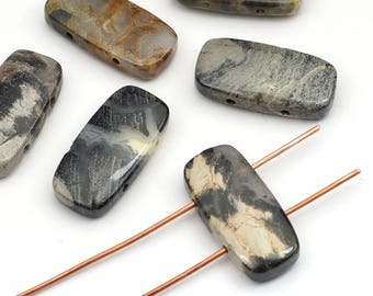 6 pcs two hole silverleaf jasper beads, rectangular 2 hole, dark grey black white semiprecious stone 20mm