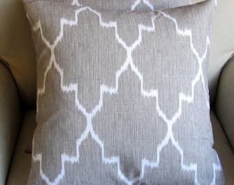 MONACO LINEN Ikat gray pillow cover 18x18 20x20 22x22 24x24 26x26
