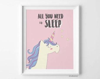 Unicorn wall art all you need is SLEEP,unicorn art print, unicorn print, unicorn wall decor, unicorn poster, unicorn digital, nursery prints