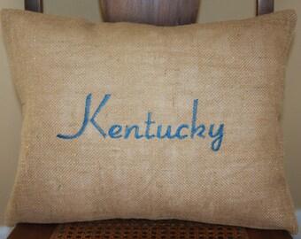 Embroidered Kentucky Blue Pillow