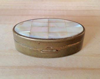 Vintage Max Factor Brass and Pearl Cover Lipstick Case