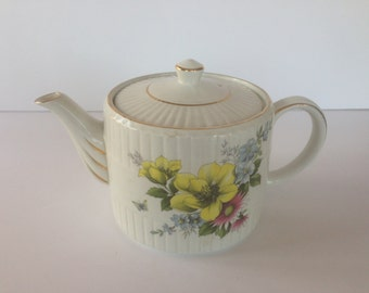 CLEARANCE! - Vintage Ellgreave English Ironstone Teapot  Yellow Pink Blue Floral