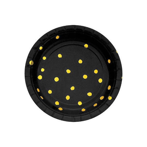 Black And Gold Paper Plates   Dessert Plates Party Plates Gold Foil Confetti Plates Baby Shower Birthday Party Wild One Wild Things from ...  sc 1 st  Etsy Studio & Black And Gold Paper Plates   Dessert Plates Party Plates Gold ...