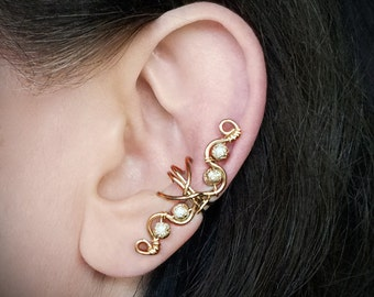 Gold Ear Cuff 24K Gold Plated Swirly Ear wrap Gold Glitter Beads