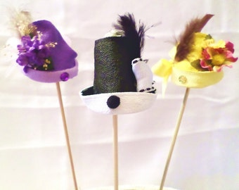 Novelty HATS ~ Party Favors, Plant & Floral Arrangement Accessories, Christmas Tree Ornaments, Stocking Stuffers, Small Unique Gift Set of 3