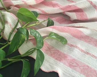 Vintage Antique 1920s Pink & White Striped Cotton Coverlet Bedspread