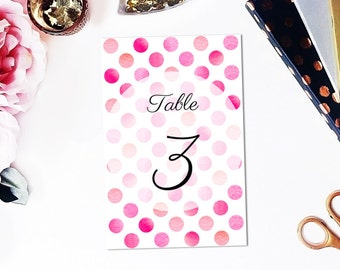Table number cards Pink wedding Table numbers printable Wedding decorations Instant download table numbers Polka dot wedding Romantic W5