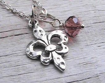 Fleur de lis charm necklace. fleur de lis charm. New Orleans personalized charm necklace. party favors. birthday party.